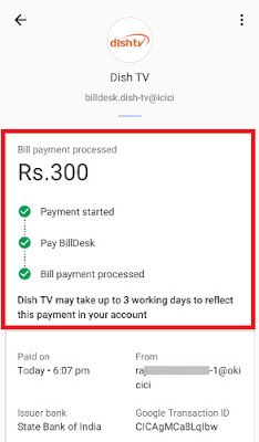 how to pay dishtv bill online through mobile using tez app