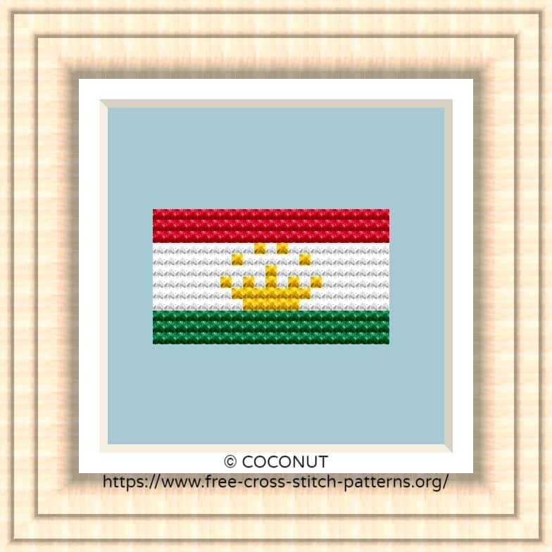 NATIONAL FLAG OF TAJIKISTAN CROSS STITCH CHART