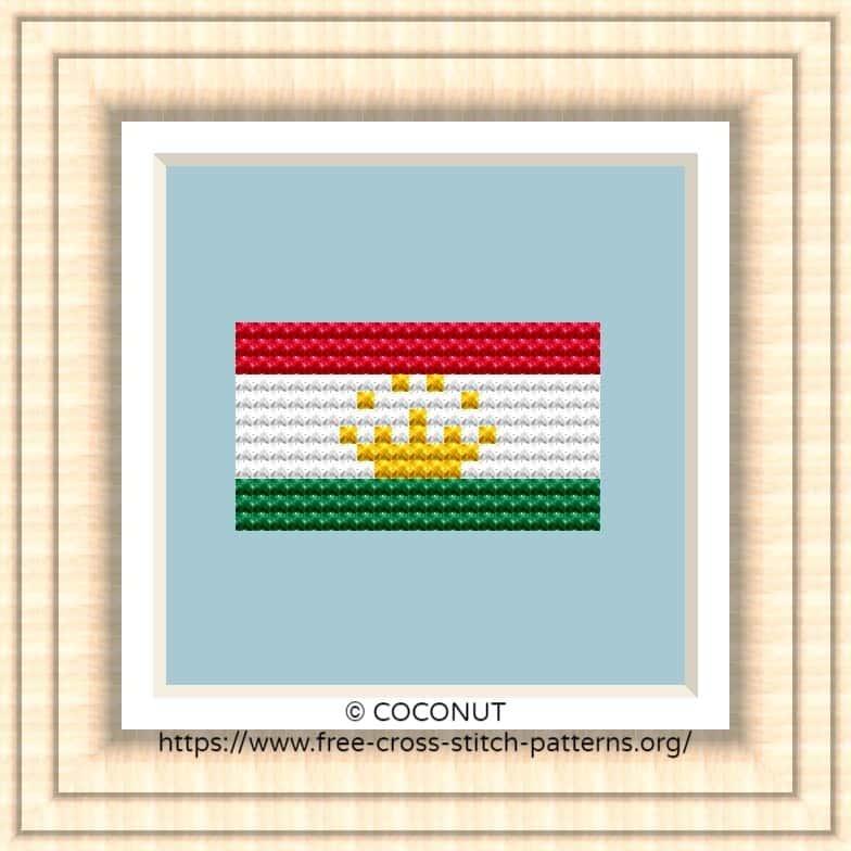 NATIONAL FLAG OF TAJIKISTAN CROSS STITCH CHART