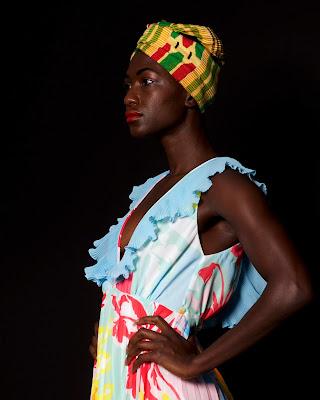 model studio print dress