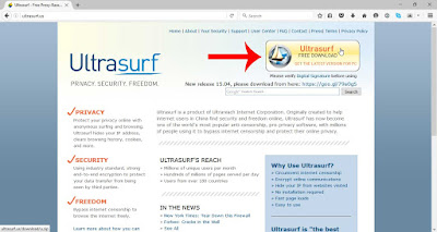 Downloading Ultrasurf from Ultrasurf website
