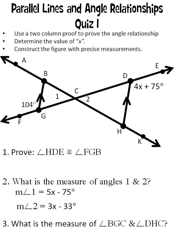 Morgan\u0027s Mathletes Parallel Lines and Angle Relationships Quiz 1