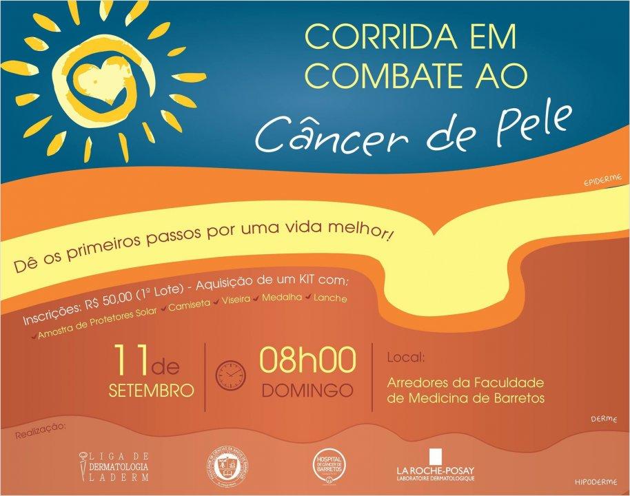 Iª Corrida em Combate ao Câncer de Pele em Barretos-SP  dia  11/09/2016  às 08hs00 saida em frente a faculdade  de medicina de Barretos Dr. Paulo Prata