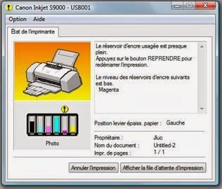 Réservoir encre usagée plein - imprimante Canon