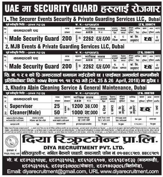 Jobs in Dubai for Nepali, Salary Rs 65,600