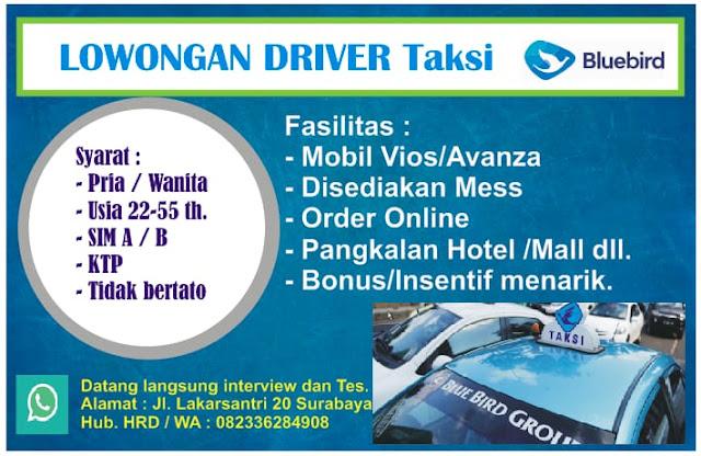 lowongan kerja driver taksi bluebird surabaya