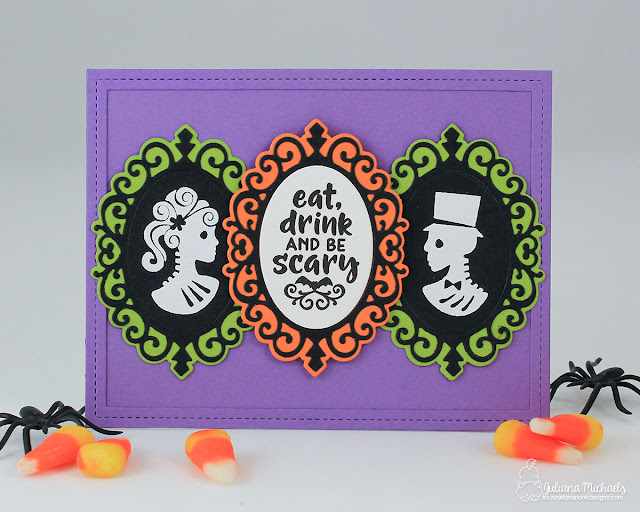 Halloween Party Invitation by Juliana Michaels featuring Newton's Nook Designs Creepy Cameo Stamp Set and Cameo Frame Die