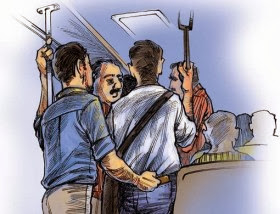 Aksi Copet di Dalam Kereta KRL Commuter Line