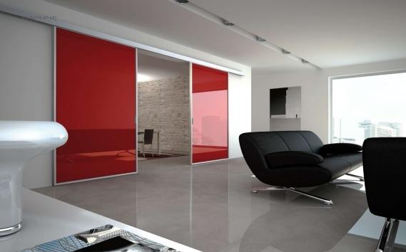 Raphne Living: vetrata scorrevole rossa