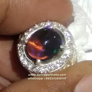 Cincin Permata Black Opal Kalimaya ZP1096