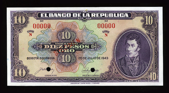 10 Colombian Pesos money currency bill