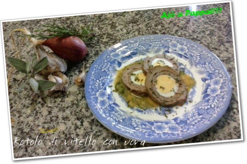 Fotografia del piatto rotolo di vitello con uova