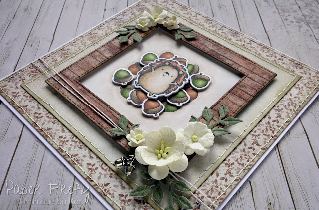 Autumnal hedgehog in acorn pile card using Happy Hedgehog stamps by MFT