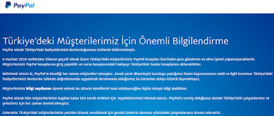 Online Ödeme Sistemi PayPal'ın Türkiye'den Çekilmesi