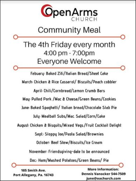 "4th Friday of every month ""Community Dinner"""