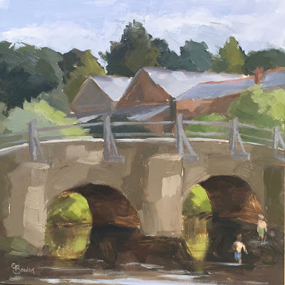 #101 'Paddling at Tilford Bridge' 8×8″