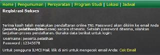 Pemberitahuan registrasi sukses Pendaftaran TNI AD AL AU