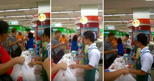 Guard Asks A Woman For Her Supermarket Receipt, Woman Shoves It In The Guard's Mouth