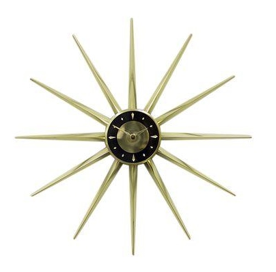 Vintage Brass Sunburst Clock: Bar Cart Styling Ideas