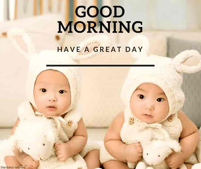 good morning images of twins child
