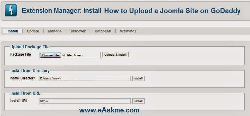 How to Upload a Joomla Site to GoDaddy : eAskme