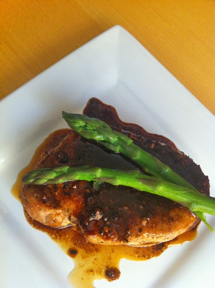 Toaster oven baked pork chop with asparagus