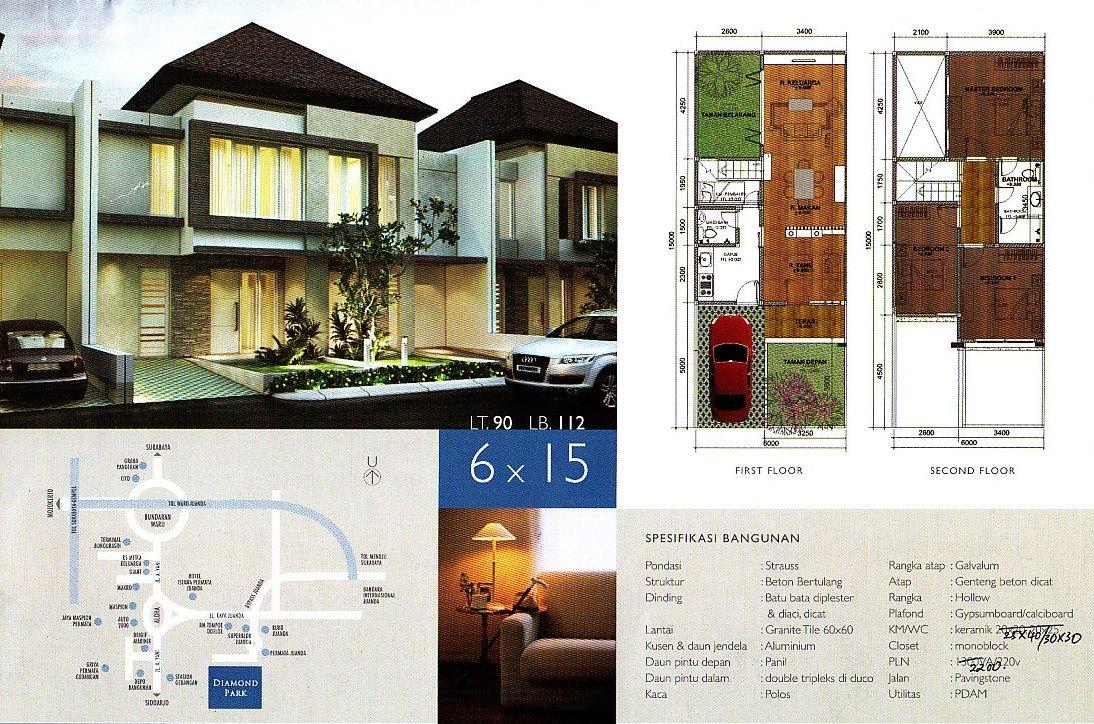 Contoh Gambar Desain Rumah Minimalis 2 Lantai Dengan Luas 6 X 15 M