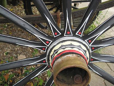 wheel of cart at Columbus Zoo