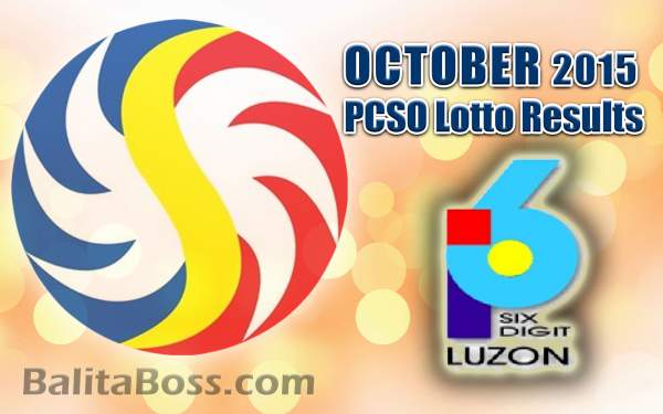October 2015 6-Digit Game PCSO Lotto Results