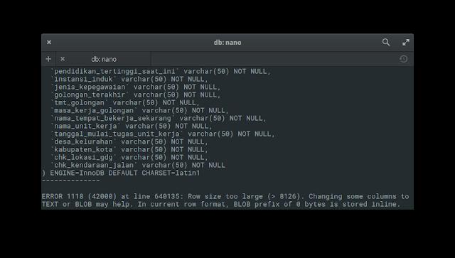 MySQL ERROR Row size too large 8126