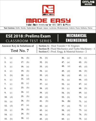 ESE OFFLINE MADE EASY TEST-7 MECHANICAL