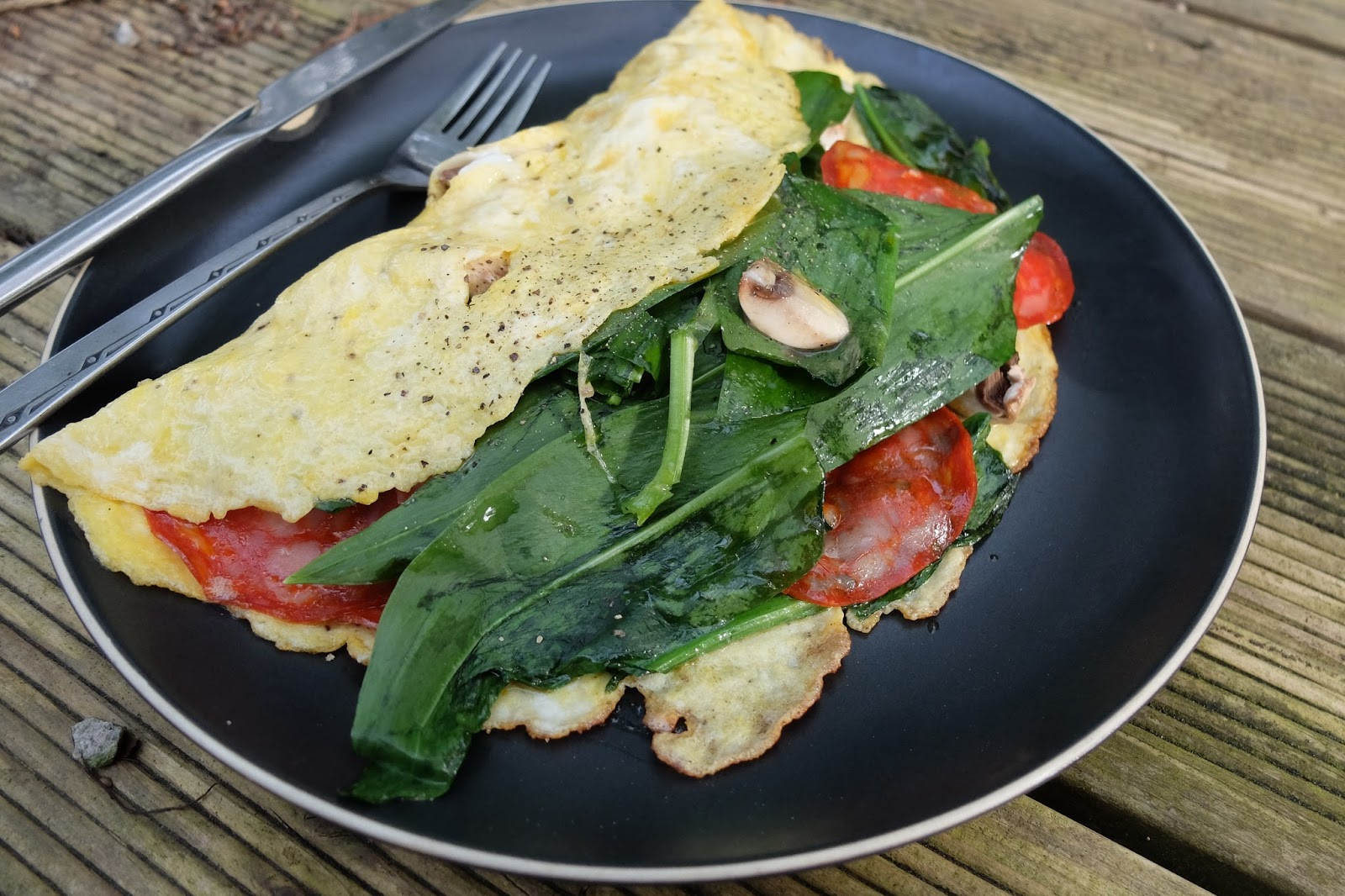 wild garlic, chorizo and mushroom omelette