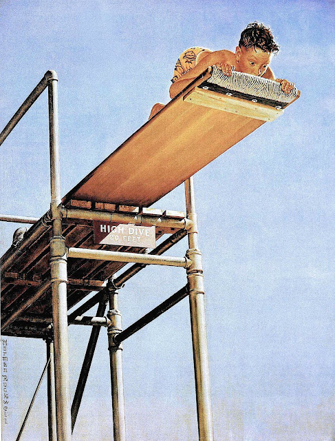 Norman Rockwell boy on high diving board