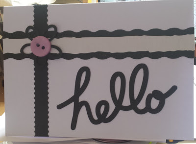 Hello - black and white C5 white card -