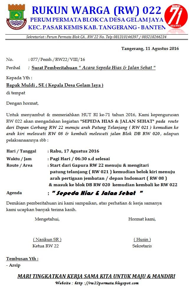 Perum Permata Tangerang Blok Ca Rw 022 Surat Pemberitahuan Kepala