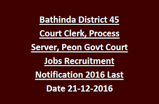 Bathinda District 45 Court Clerk, Process Server, Peon Govt Court Jobs Recruitment Notification 2016 Last Date 21-12-2016