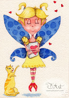 elated book elf watercolor illustration by tawnya boe art