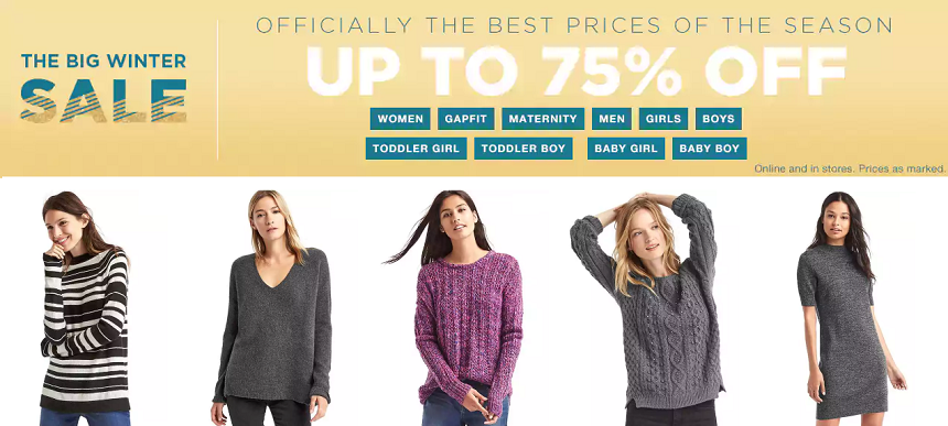 Gap today to shop The Big Winter Sale with up to 75% off