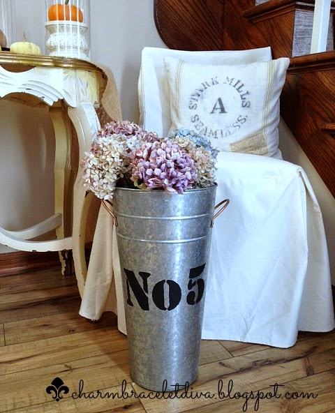 galvanized French flower bucket No. 5 hydrangeas Seamless grainsack pillow