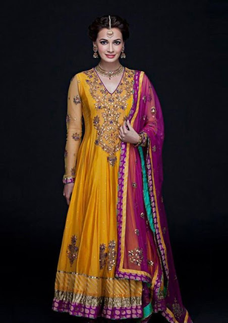 Dia Mirza Bridal Designer Yellow Anarkali Suit