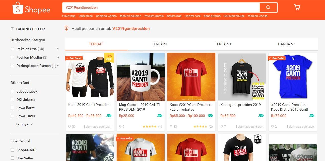 Kaos #2019GantiPresiden di Shopee