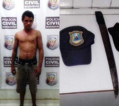 Guarda Municipal prende Homem que pedia ajuda em residências e ameaçava vitimas com facão.