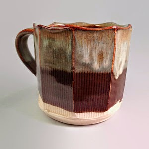 Handmade Faceted Pottery Mug by Lori Buff