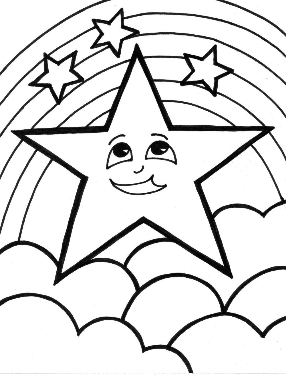 Estrelas lindas do céu Desenhos preto e branco para colorir