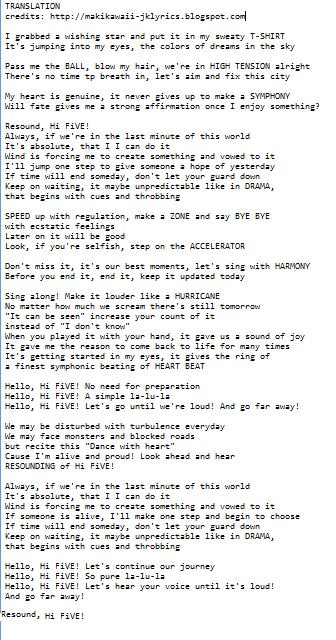 Random Jpop And Kpop Lyrics Translations Lisa Hi Five Lyrics