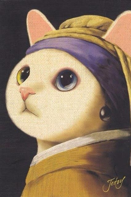 Funny The Cat With The Pearl Earring Joke Picture