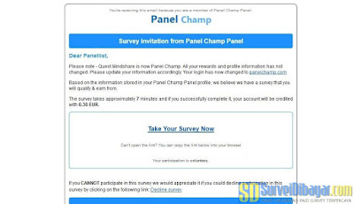 Email dari survey online Panel Champ | SurveiDibayar.com