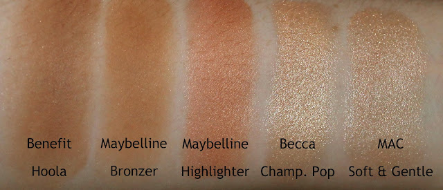 Benefit Hoola Bronzer, Maybelline NY Bricks Bronzer and Highlighter, Becca Shimmering Skin Perfector Pressed in Champagne Pop and MAC Mineralise Skin Finish in Soft & Gentle comparison swatch swatches review