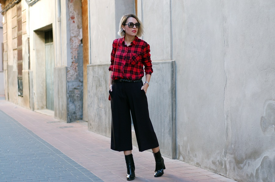 plaid shirt and culottes, biker street style littledreamsbyr