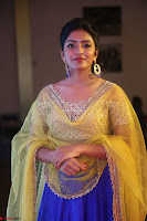 Actress Eesha in Yellow Choli Blue Ghagra at Darshakudu music launch 057.JPG